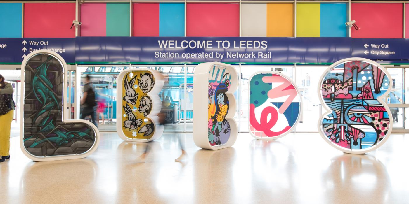 New artwork for letters in Leeds Train Station