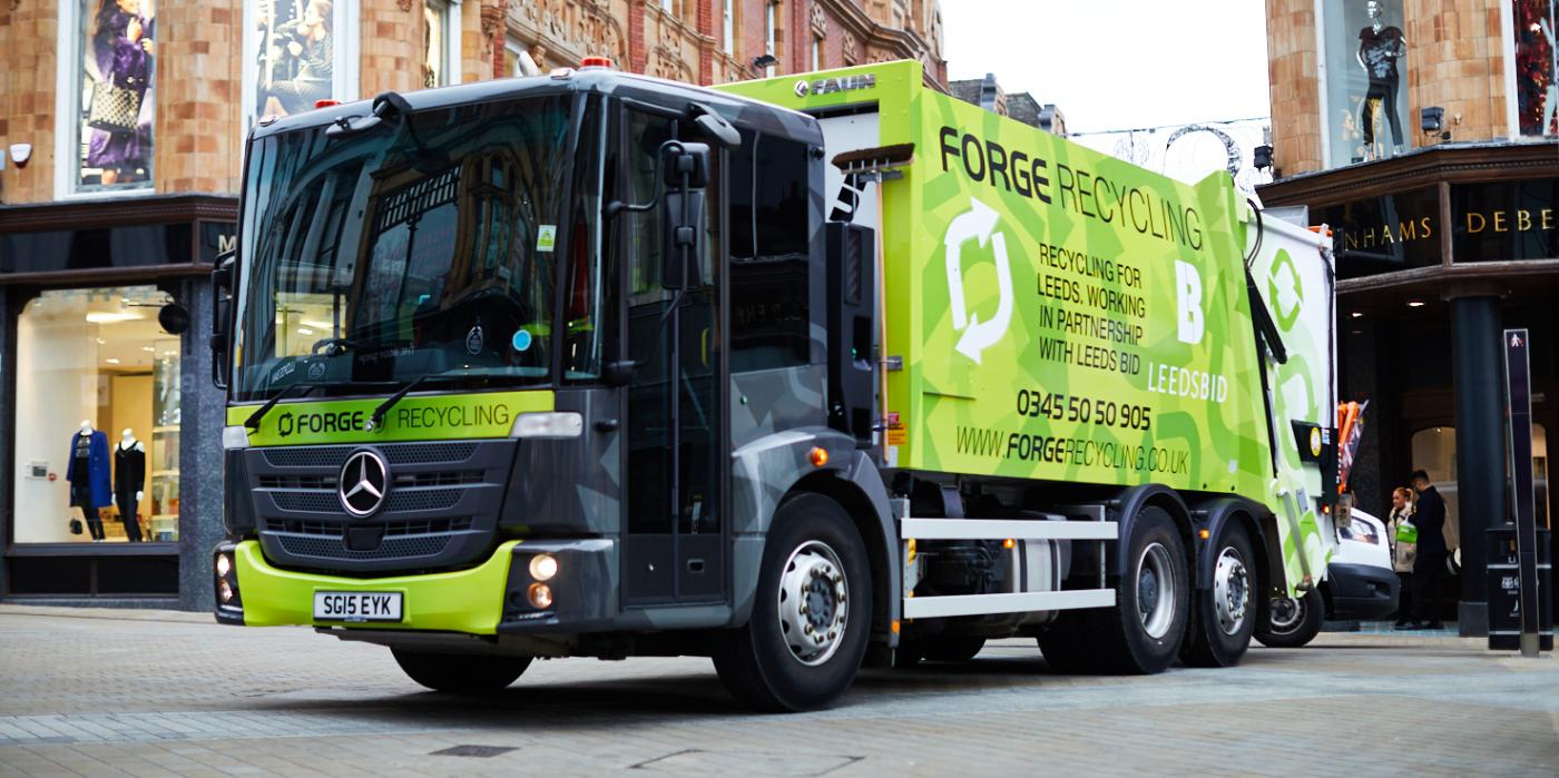 Forge recycling truck for trade waste in Leeds